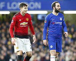 February 18, 2019 - London, United Kingdom - L-R Manchester United's Victor Lindelof and Chelsea's Gonzalo Higuain.during FA Cup Fifth Round between Chelsea and Manchester United at Stanford Bridge stadium , London, England on 18 Feb 2019. (Credit Image: © Action Foto Sport/NurPhoto via ZUMA Press)