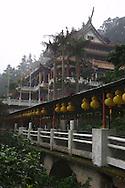 The walkway to Zhinan Temple in Taipei, Taiwan.