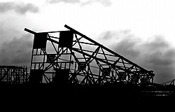 Stock photo of a silhouette view of a metal structure