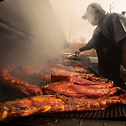 King Ribs pit master Thomas Fultz cooks on the smokers at King Ribs on 16th Street in Indianapolis, Indiana. Nathan Lambrecht/Journal Communications