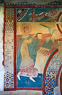 Twelfth century restored Romanesque Frescoes arounf the entrance to the church of Saint Joan of Boi, Val de Boi, Alta Ribagorca, Pyranese, Spain. A UNESCO World Heritage Site .<br /> <br /> Visit our SPAIN HISTORIC PLACES PHOTO COLLECTIONS for more photos to download or buy as wall art prints https://funkystock.photoshelter.com/gallery-collection/Pictures-Images-of-Spain-Spanish-Historical-Archaeology-Sites-Museum-Antiquities/C0000EUVhLC3Nbgw <br /> .<br /> Visit our MEDIEVAL PHOTO COLLECTIONS for more   photos  to download or buy as prints https://funkystock.photoshelter.com/gallery-collection/Medieval-Middle-Ages-Historic-Places-Arcaeological-Sites-Pictures-Images-of/C0000B5ZA54_WD0s