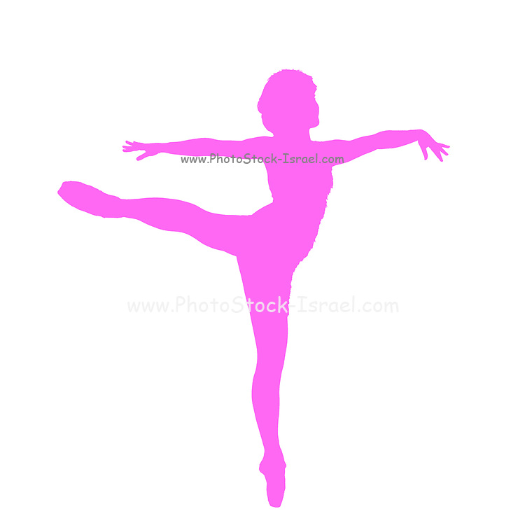 Silhouette of a female Ballet Dancer balances on her tows