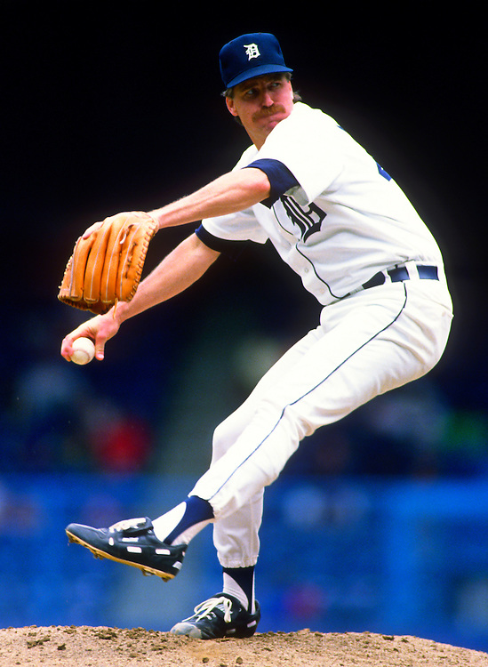 DETROIT - 1990:  Jack Morris of the Detroit Tigers pitches in an MLB game at Tiger Stadium in Detroit, Michigan.  Morris pitched for the Tigers from 1977-1990.  (Photo by Ron Vesely).