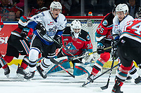 KELOWNA, BC - MARCH 11: Roman Basran #30 of the Kelowna Rockets defends the net against the Victoria Royals at Prospera Place on March 11, 2020 in Kelowna, Canada. (Photo by Marissa Baecker/Shoot the Breeze)