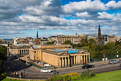 View from The Mound of the Scottish National Gallery art museum and Princes Street Gardens in Edinburgh, Scotland, United Kingdom.