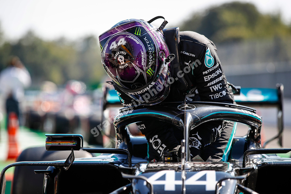 Lewis Hamilton (Mercedes) with Black Lives Matter logo on helmet hets put of his car after qualifying for the 2020 Italian Grand Prix in Monza. Photo: © Copyright: FIA Pool Image via Grand Prix Photo - for Editorial Use Only