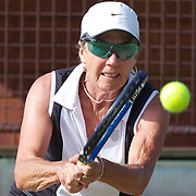 Beverley Eddington, Australia, in action in the 65 Womens Singles during the 2009 ITF Super-Seniors World Team and Individual Championships at Perth, Western Australia, between 2-15th November, 2009.