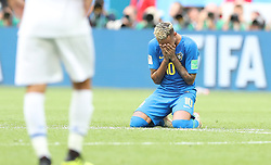 SAINT PETERSBURG, June 22, 2018  Neymar of Brazil kneels on the pitch and cries after the 2018 FIFA World Cup Group E match between Brazil and Costa Rica in Saint Petersburg, Russia, June 22, 2018. Brazil won 2-0. (Credit Image: © Xu Zijian/Xinhua via ZUMA Wire)