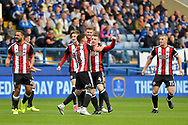 Sheffield United midfielder John Fleck (4) celebrates after scoring the opening goal 0-1 during the EFL Sky Bet Championship match between Sheffield Wednesday and Sheffield Utd at Hillsborough, Sheffield, England on 24 September 2017. Photo by Adam Rivers.