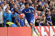 Diego Costa of Chelsea prepares to take a corner. Barclays Premier League, Chelsea v Crystal Palace at Stamford Bridge in London on Saturday 29th August 2015.<br /> pic by John Patrick Fletcher, Andrew Orchard sports photography.