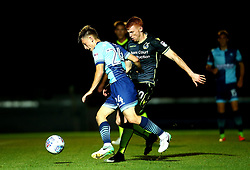Rory Gaffney of Bristol Rovers challenges Jack Williams of Wycombe Wanderers - Mandatory by-line: Robbie Stephenson/JMP - 29/08/2017 - FOOTBALL - Adam's Park - High Wycombe, England - Wycombe Wanderers v Bristol Rovers - Checkatrade Trophy