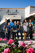 Owner Carole Rast and her family pose for a portrait outside  Roy's Station Coffee & Teas in Japantown of San Jose, California, on September 16, 2014. The cafe once was a gas station owned by Carole's father. (Stan Olszewski/SOSKIphoto for Content Magazine)