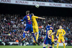 March 4, 2018 - Barcelona, Catalonia, Spain - 02 Diego Godin from Uruguay of Atletico de Madrid defended by 03 Gerard Pique from Spain of FC Barcelona during La Liga match between FC Barcelona v Atletico de Madrid at Camp Nou Stadium in Barcelona on 04 of March, 2018. (Credit Image: © Xavier Bonilla/NurPhoto via ZUMA Press)