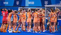 TOKIO - Oranje , teamhuddle , voor  de wedstrijd dames , Nederland-India (5-1) tijdens de Olympische Spelen   .   COPYRIGHT KOEN SUYK