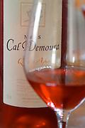 Cuvee Qu'es Aquo rose wine. Domaine Mas Cal Demoura, in Jonquieres village. Terrasses de Larzac. Languedoc. France. Europe. Bottle. Wine glass.
