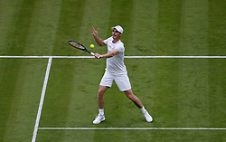 Jamie Murray on No.1 court at The All England Lawn Tennis Club, London.