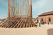 Venice, Biennale Architettura: Arsenale. how will we live together Chileans and Mapuce? building place to get to know each other, building places to parley