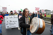 06/03/2013. Protestors near the court house in Loughrea, Galway where turf cutters where up on charges in relation to the cutting of turf in an area of conservation. Picture:Andrew Downes.