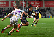 Sale Sharks Halani Aulika runs for the line during the The Aviva Premiership match Sale Sharks -V- Exeter Chiefs  at The AJ Bell Stadium, Salford, Greater Manchester, England on Friday, October 27, 2017. (Steve Flynn/Image of Sport)