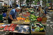 The Saturday morning fruit and veg market in Place Carnot, on 27th May, 2017, in Carcasonne, Languedoc-Rousillon, south of France