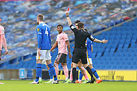 Football - 2020 / 2021 Premier League - Brighton and Hove Albion vs. Sheffield United - The Amex Stadium<br /> <br /> Referee Mr Peter Bankes gives John Lundstram of Sheffield United a straight red for serious foul play during the Premier League match at The Amex Stadium Brighton <br /> <br /> COLORSPORT/SHAUN BOGGUST