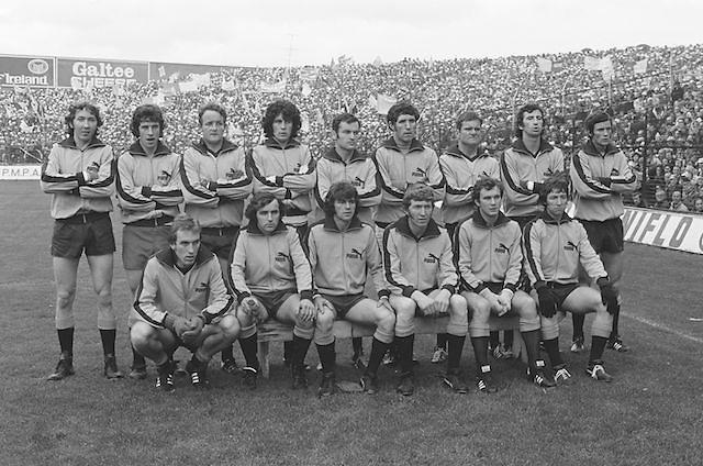 The Dublin team before the All Ireland Senior Gaelic Football Final, Kerry v Dublin in Croke Park on the 28th September 1975. Kerry 2-12 Dublin 0-11.<br /> <br /> P Cullen, G O'Driscoll, S Doherty (capt), R Kelleher, P Reilly, A Larkin, G Wilson, B Mullins, B Brogan, A O'Toole, A Hanahoe, D Hickey, J McCarthy, J Keaveney, P Gogarty, Subs, B Doyle for B Brogan, P O'Neill for J McCarthy, B Pocock for P Reilly.