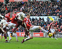 Stoke City/Sunderland Premiership 05.02.11<br />Photo: Tim Parker Fotosports International<br />Robert Huth Stoke scores 3rd goal