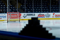 KELOWNA, CANADA - FEBRUARY 23:  The net stands empty with pucks on the boards pregame at the Kelowna Rockets on February 23, 2018 at Prospera Place in Kelowna, British Columbia, Canada.  (Photo by Marissa Baecker/Shoot the Breeze)  *** Local Caption ***