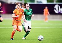Fotball , 24. juli 2014 , U19 Women , Netherlands - Ireland<br /> Nederland - Irland<br /> <br /> Dominique Janssen , NED<br /> Lauren Dwyer , IRL