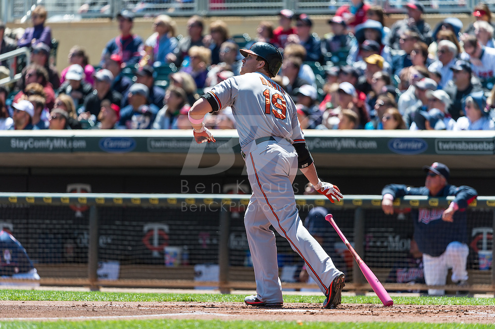 Chris Davis #19 of the Baltimore Orioles watches his home run against the Minnesota Twins on May 12, 2013 at Target Field in Minneapolis, Minnesota.  The Orioles defeated the Twins 6 to 0.  Photo: Ben Krause