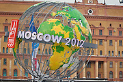 Moscow, Russia, 13/03/2005..Advertising outside KGB headquarters in central Moscow in support of the city's bid to host the 2012 Olympic Games. The city center is festooned with such avertising as the Olympic Inspection Committe arrives to evaluate the Moscow bid.