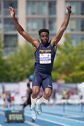 August 12, 2018 - Toronto, ON, U.S. - TORONTO, ON - AUGUST 12: Ifeanyichukwu Otuonye (Turks and Caicos), long jump at the 2018 North America, Central America, and Caribbean Athletics Association (NACAC) Track and Field Championships on August 12, 2018 held at Varsity Stadium, Toronto, Canada. (Photo by Sean Burges / Icon Sportswire) (Credit Image: © Sean Burges/Icon SMI via ZUMA Press)