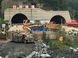 ZHIJIN, Sept. 14, 2016 (Xinhua) -- Photo taken on Sept. 14, 2016 shows the accident site in Zhijin County, southwest China's Guizhou Province. Seven workers were trapped after a highway tunnel collapsed during construction on Tuesday. (Xinhua) (zyd) (Credit Image: © Xinhua via ZUMA Wire)