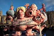 Anti Brexit pro Europe remain protest with satirical caricatures of Theresa May, Boris Johnson, Michael Gove and David Davies, opposite the Houses of Parliament on 12th December 2018 in London, England, United Kingdom.