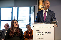 © Licensed to London News Pictures. 18/02/2019. London, UK. Former Labour MPs Chuka Umunna (R) and Luciana Berger (L) at an event in Westminster, London. A group of seven former Labour MPs announced the formation a new political party, The Independent Group, formed by breakaway Labour MPs who disagree with Labour Party action on Brexit and Antisemitism. Photo credit: Rob Pinney/LNP
