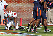 Oct. 22, 2011 - Charlottesville, Virginia - USA; North Carolina State wide receiver Jay Smith (86) North Carolina State wide receiver Jay Smith (86) reacts after being defended by Virginia Cavaliers during an NCAA football game at the Scott Stadium. NC State defeated Virginia 28-14. (Credit Image: © Andrew Shurtleff