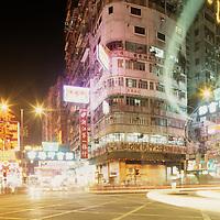 China, Hong Kong, Neon signs light night in Tsim Sha Tsui district of Kowloon