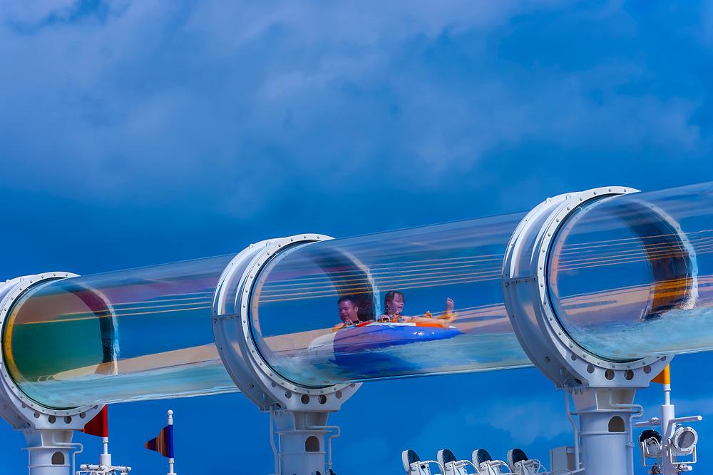 "AquaDuck water slide, aboard the cruise ship ""Disney Dream"", Disney Cruise Line, docked at Nassau, The Bahamas"