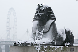 © Licensed to London News Pictures.20_01_2013 LONDON UK.A Snowy Sphinx at Cleopatra's Needle on the Victoria Embankment .Heavy Snow fall on the third day of  freezing cold weather over most of the country. Photo credit : Andrew Baker/LNP
