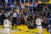 Golden State Warriors forward David West (3) dunks the ball against the Dallas Mavericks at Oracle Arena in Oakland, California, on February 8, 2018. (Stan Olszewski/Special to S.F. Examiner)