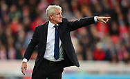 Mark Hughes, manager of Stoke city makes a point. Premier league match, Stoke City v Arsenal at the Bet365 Stadium in Stoke on Trent, Staffs on Saturday 19th August 2017.<br /> pic by Bradley Collyer, Andrew Orchard sports photography.
