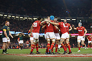 Justin Tipuric of Wales (7) celebrates with his teammates after he scores his teams 2nd try. Under Armour 2016 series international rugby, Wales v South Africa at the Principality Stadium in Cardiff , South Wales on Saturday 26th November 2016. pic by Andrew Orchard, Andrew Orchard sports photography