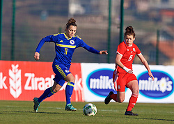 ZENICA, BOSNIA AND HERZEGOVINA - Tuesday, November 28, 2017: Bosnia and Herzegovina's Lidija Kuliš and Wales' Angharad James during the FIFA Women's World Cup 2019 Qualifying Round Group 1 match between Bosnia and Herzegovina and Wales at the FF BH Football Training Centre. (Pic by David Rawcliffe/Propaganda)