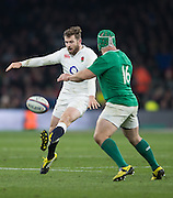 Twickenham. Great Britain.<br /> Elliot DAVY kick the ball into touch in the 80th minute to end the game. with victory to England 2§-10.  RBS Six Nations Rugby, England vs Ireland at the RFU Twickenham Stadium. England.<br /> <br /> Saturday  27/02/2016. <br /> <br /> [Mandatory Credit; Peter Spurrier/Intersport-images]