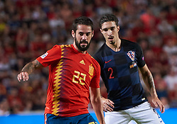 September 11, 2018 - Elche, U.S. - ELCHE, SPAIN - SEPTEMBER 11: Isco of Spain and Sime Vrsaljko of Croatia looks during the UEFA Nations League A Group four match between Spain and Croatia on September 11, 2018, at Estadio Manuel Martinez Valero in Elche, Spain. (Photo by Carlos Sanchez Martinez/Icon Sportswire) (Credit Image: © Carlos Sanchez Martinez/Icon SMI via ZUMA Press)