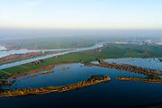 Nederland, Flevoland, Overijssel, Noordoostpolder, 04-11-2018. Keteldiep en samenvloeiing met Kattendiep, overgaand in IJssel. Vossemeer in de voorgrond.<br /> Waterways to Kampen.<br /> luchtfoto (toeslag op standaard tarieven);<br /> aerial photo (additional fee required);<br /> copyright© foto/photo Siebe Swart
