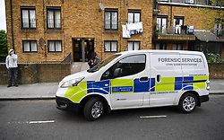 © Licensed to London News Pictures. 01/05/2019. London, UK.  A police forensics vehicle outside a flat on St Evans Road, Westbourne Park. The property is understood to belong to a 34yr old man who was arrested yesterday in connection with the double murder in Canning Town where the bodies of two women were found in chest Freezer. The Investigation is ongoing.  Photo credit: Guilhem Baker/LNP