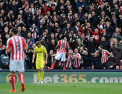 Stoke City's Mame Biram Diouf celebrates with the fans after scoring - Photo mandatory by-line: Dougie Allward/JMP - Mobile: 07966 386802 - 09/05/2015 - SPORT - Football - Stoke - Britannia Stadium<br />  - Stoke v Tottenham Hotspur - Barclays Premier League