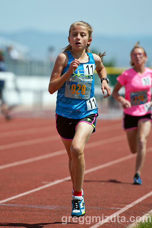 Mikella Tobin competes in the YMCA Track & Field Middle School Invitational 1600 on May 28, 2016 at Mountain View High School, Meridian, Idaho. <br /> <br /> Top three finishers: Mikella Tobin, YMCA Team Idaho (5:45.85); Kayleigh Maloney, Lewis & Clark (5:52.62); and Alexia Corona, Sage Valley (5:57.10).