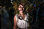 New York, NY - 31 October 2019. the annual Greenwich Village Halloween Parade along Manhattan's 6th Avenue. Medusa with snakes for hair.